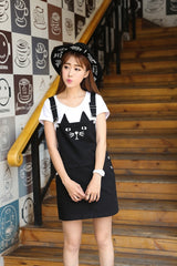 Fashion Black kitten Denim Overall Dresse overall - Grr Cats