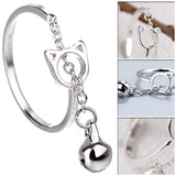 Cat Open Ring With Bell Pendant Ring - Grr Cats