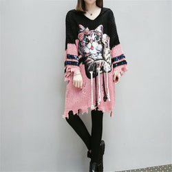 Hooded Sweater Dress Hole with Cartoon Cat Hoodies - Grr Cats