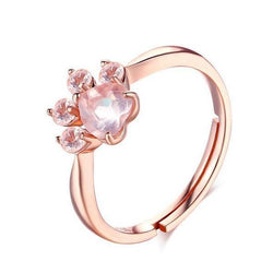 Beautiful Rose Gold Paw Ring Ring - Grr Cats