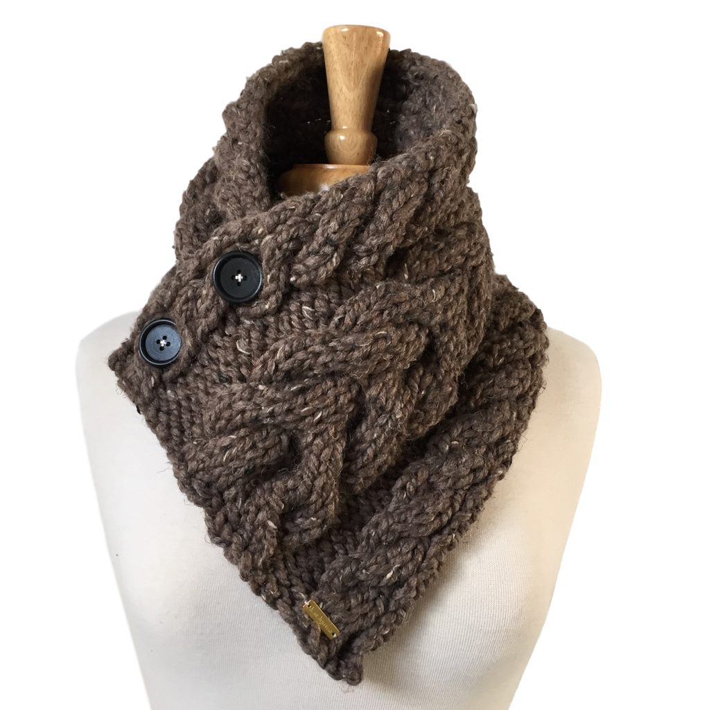 Cabled Button Scarf - Classic Neutrals