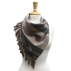 Deep Green, Cream and Taupe Woven Bandana Scarf