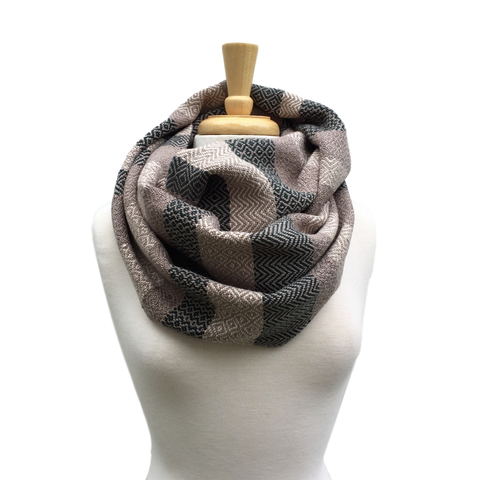 Deep Green, Cream and Taupe Woven Infinity Scarf