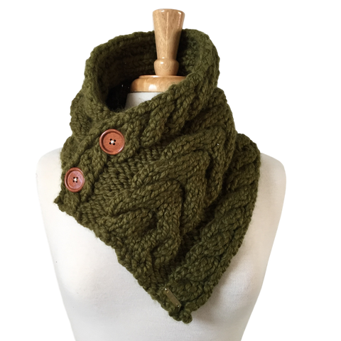 Cabled Button Scarf - Bolds