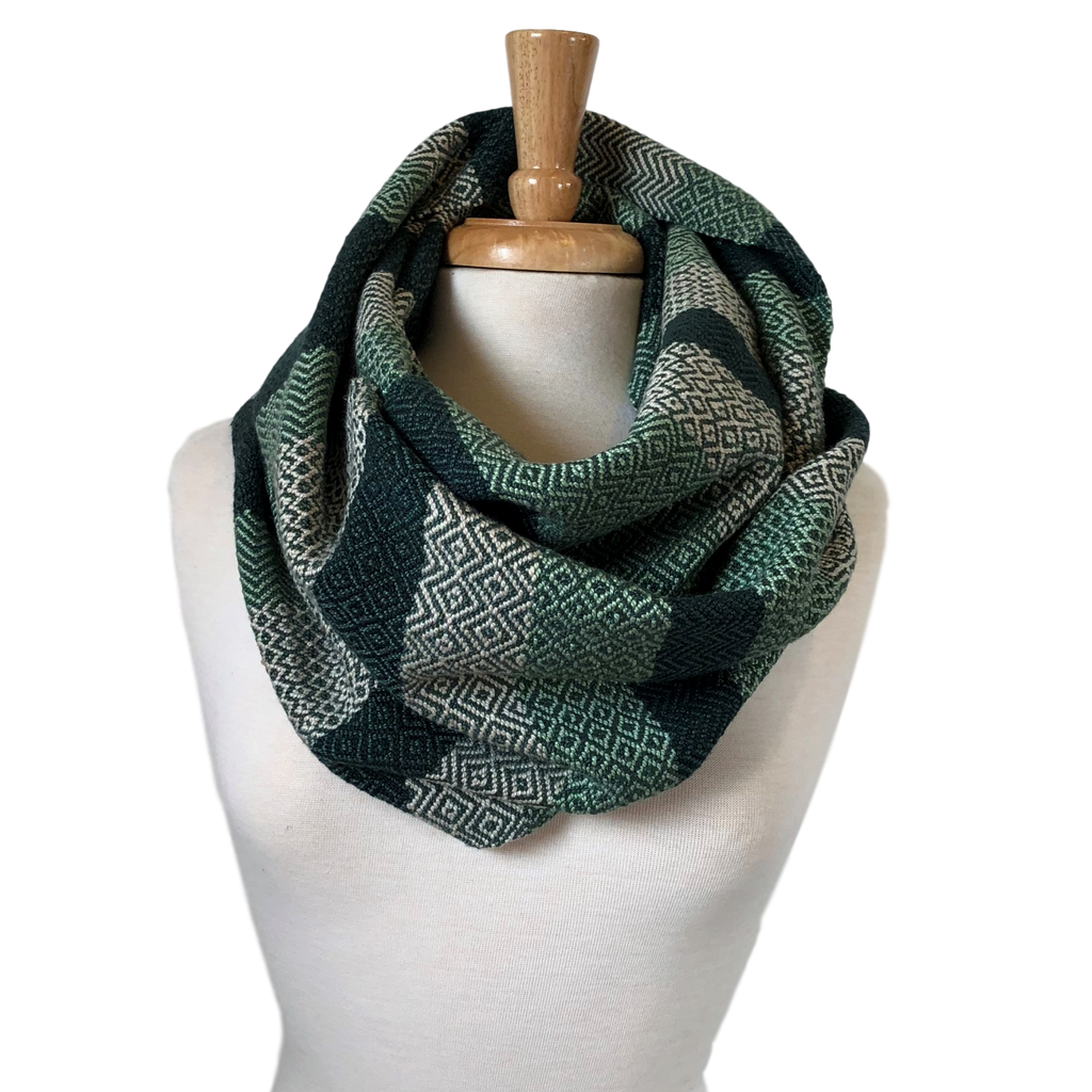 Mint, Deep Green, Cream and Jade Woven Infinity Scarf