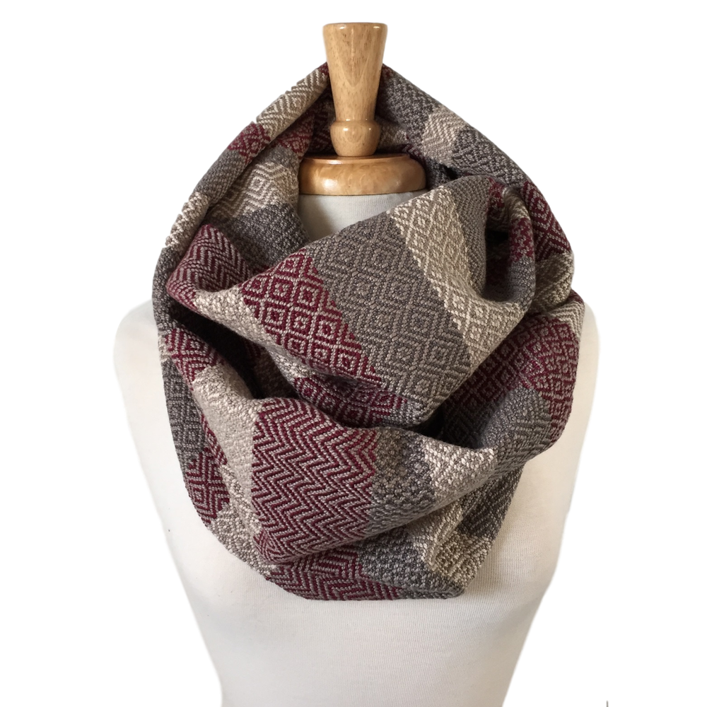Oxblood, Cream and Charcoal Grey Woven Infinity Scarf
