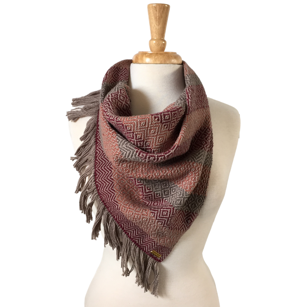 Oxblood, Peach and Charcoal Bandana Scarf
