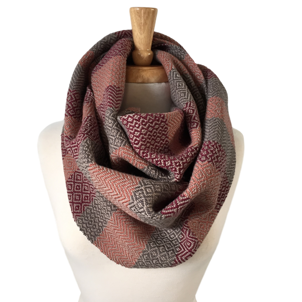 Oxblood, Peach and Charcoal Grey Woven Infinity Scarf