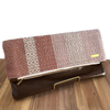 Pink, Cream and Taupe Woven Fold Over Clutch