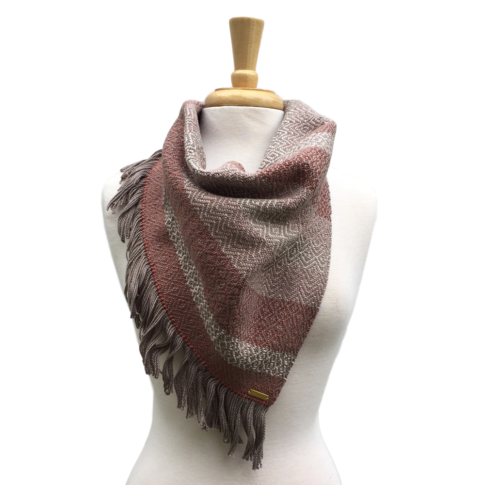Pink, Cream and Taupe Woven Bandana Scarf
