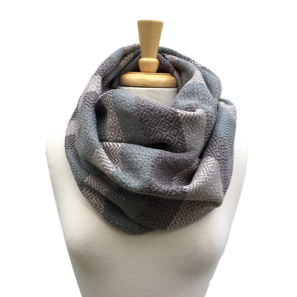 Pool, Cream and Grey Woven Infinity Scarf