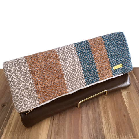 Teal, Gold and Cream Woven Fold Over Clutch