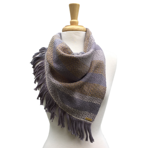 Wheat, Cream and Grey Woven Bandana Scarf