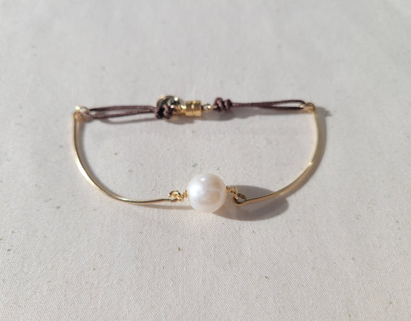 Pearl bangle adustable bracelet