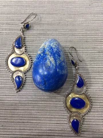 Lapis Lazuli afghan earrings with gilding and Lapis egg.