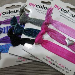 My Colourbands by Carrie Elspeth. Stretchy bands in plain, patterned and sparkly for your hair or wrist