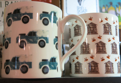 Izzi Rainey design mugs, made by Stubbs Mugs.