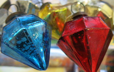 Beautiful hand made glass baubles from India.