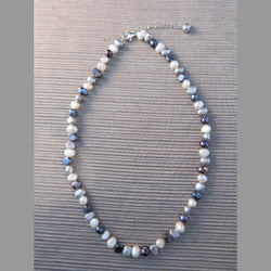 Grey & White Mixed Freshwater Pearl Necklace