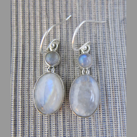 Sterling Silver and Rainbow Moonstone Drop Earrings