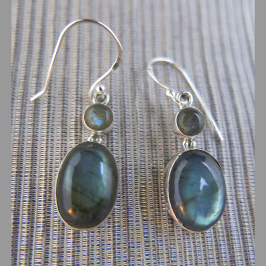 Sterling Silver and Labradorite Drop Earrings