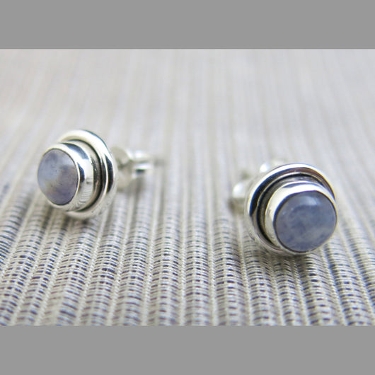 Sterling Silver and Rainbow Moonstone Etud Earrings