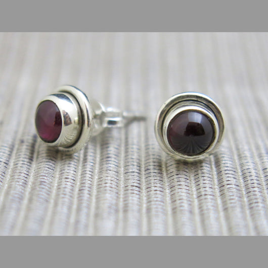 Sterling Silver and Garnet Stud Earrings