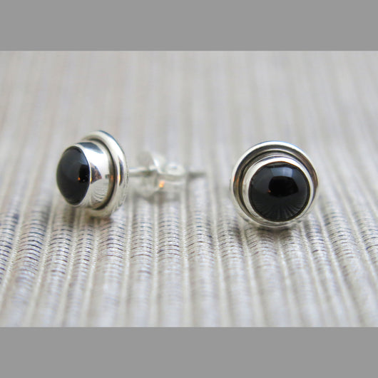 Sterling Silver and Black Onyx Stud Earrings