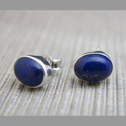 Sterling Silver and Lapis Lazuli Stud Earrings