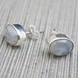 Sterling Silver and Rainbow Moonstone Stud Earrings