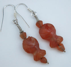 Afghan cornelian fish shaped drop earrings