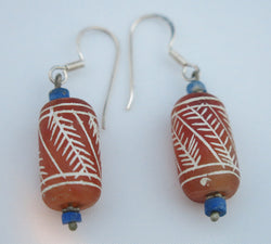 Afghan soda etched cornelian and lapis drop earrings