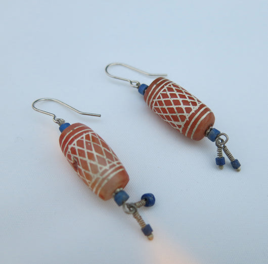 Afghan soda etched earrings with Lapis Lazuli
