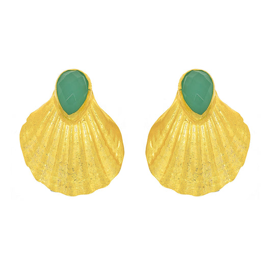 Ottoman Hands shell design stud earrings with Chalcedony.