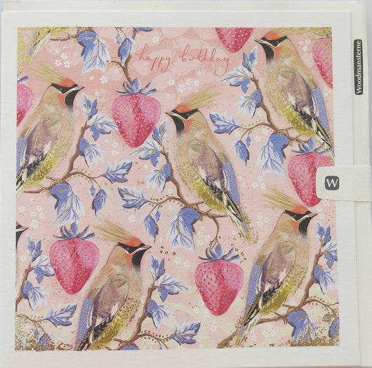 SINGLE CARD - Bird and Strawberries, Emma Grant