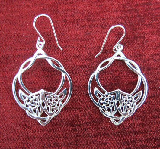 Sterling silver celtic design drop earrings