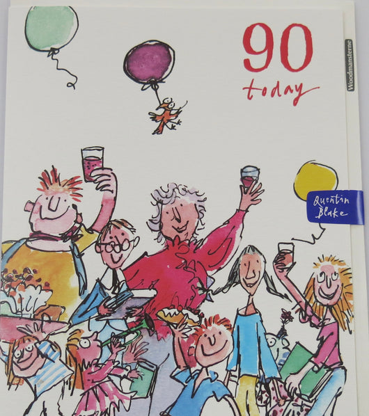 SINGLE CARD. Quentin Blake 90th Birthday card.