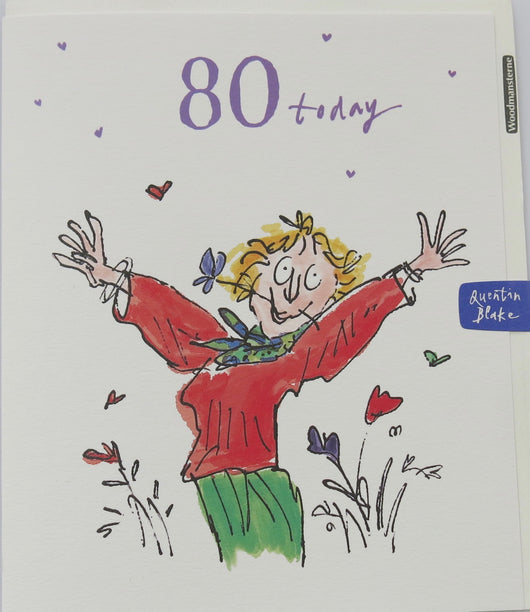SINGLE CARD. Quentin Blake 80th Birthday card.