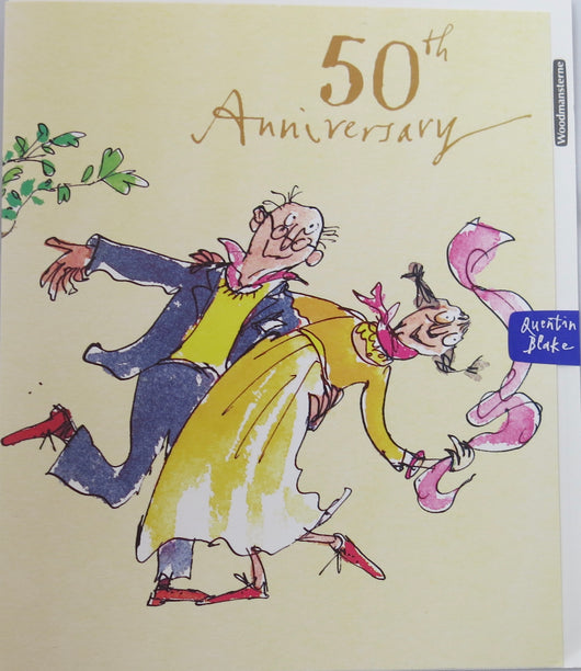 SINGLE CARD - Quentin Blake, 50th Wedding Anniversary (Golden)