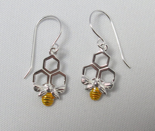 Silver and gold plated bee drop earrings