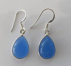 BLUE CHALCEDONY AND STERLING SILVER DROP EARRINGS