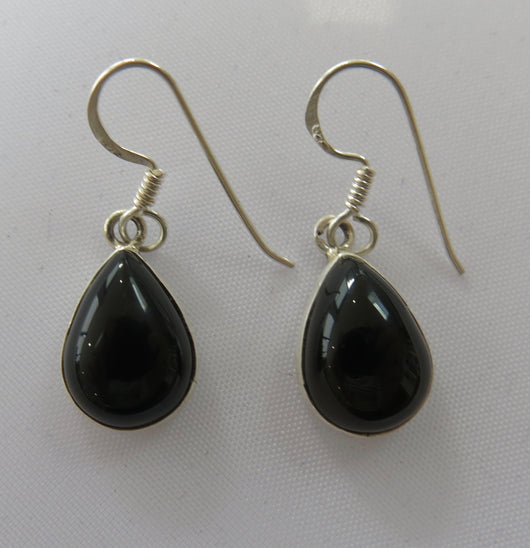 Black Onyx and Sterling Silver drop earrings