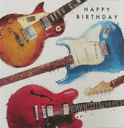 Single Birthday card- Guitars, Gareth Williams