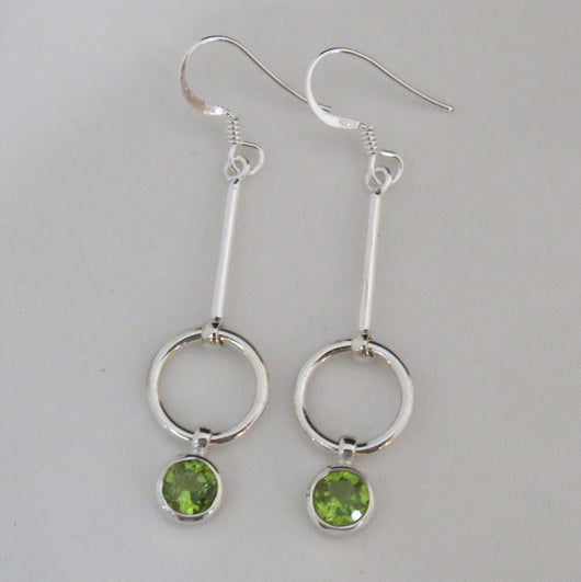 Peridot and Sterling Silver Drop Earrings