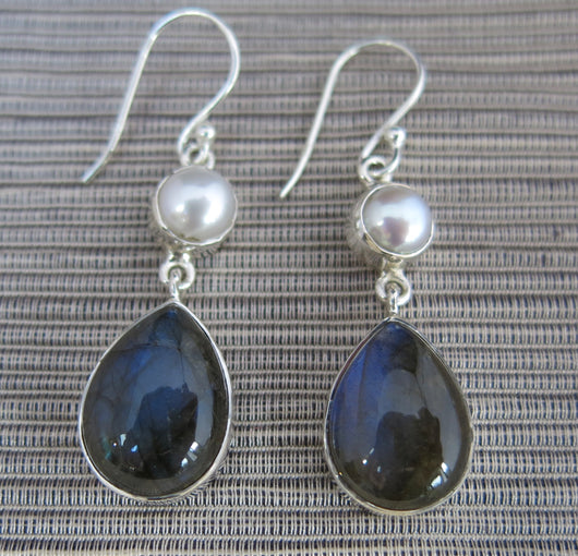 Freshwater Pearl and Labradorite Drop Earrings