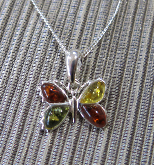 Baltic Amber Butterfly Pendant and Chain