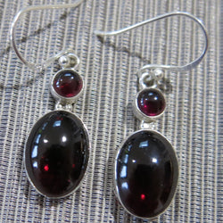 Sterling Silver and Garnet Drop Earrings
