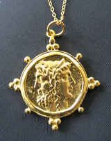 Ottoman Hands Gold Plated Coin Pendant