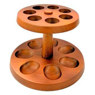 Wood 7 pipe round rack