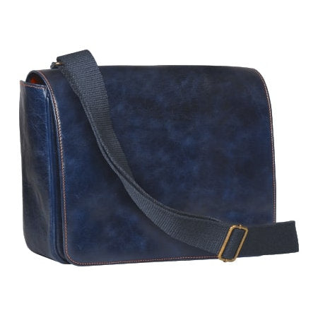 4th Generation Leather Messenger Bag Navy Blue